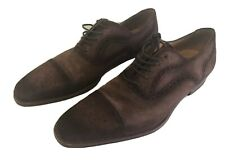 Magnanni Riley Cap Toe Oxfords Brogue Brown Suede Mens Shoes Size 11.5