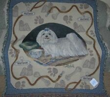 New Maltese Cotton Afghan Throw Blanket Dog Puppy Breed Photo Picture Gift NIP