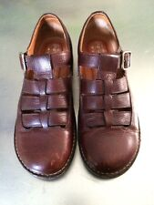 NATURAL SPORT BROWN LEATHER T STRAP FISHERMAN SHOES SOLE MASSAGE 9N