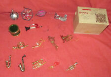 CHRISTMAS ORNAMENTS 15 Vintage GLASS & METAL Musical Horns & Bird Traditional