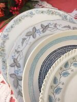 "Set of 4 Vintage Mismatched China Dinner Plates Blue Floral 10 1/2""   #238"