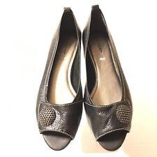 Rockport Womens Shoes 6 Black Pebbled Leather Open Toe Flat Brazil (SB513)