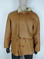 SHEARLING MONTONE SHEEPSKIN Cappotto Giubbotto Jacket Tg 52 Uomo Man