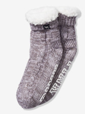 NWT VICTORIA'S SECRET PINK SLIPPERS SOCKS COBBLESTONE GREY SHERPA LINED BOOTIES