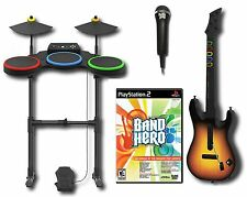 PS2 BAND HERO Video Game Bundle Set w/Guitar/Drums/Mic kit playstation-2 rock