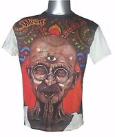 Men T Shirt short sleeve India Peace Goa Om Mahatma Gandhi HIPPIE L WEED cotton