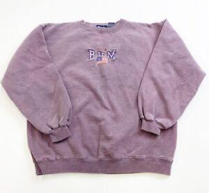 Vintage B.U.M. Equipment Crewneck Sweatshirt Youth 14 Faded Burgundy