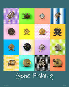 Poster archival Art Print with retro fishing reels for anyone who loves fishing