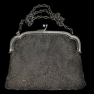 LONDON ANTIQUE 1918 Solid 925 Sterling Silver Mesh Bag Coin Purse Handbag 100g