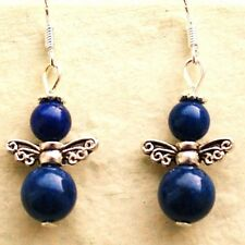 Angel Earrings with Lapis Lazuli Gemstone Beads & Sterling Silver Hooks New L5