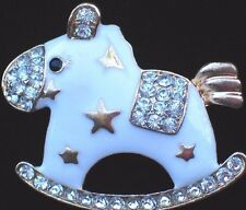 "Party Rocking Horse Pin Brooch Jewelry 1.75"" White Its A Boy Girl Baby Shower"