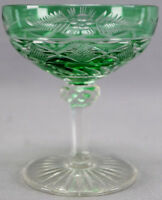 Early 20th Century French St Louis / Baccarat Green Cut to Clear Crystal Sherbet