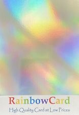 20 SHEETS - SILVER RAINBOW HOLOGRAPHIC A4 CRAFTING CARD 310 GSM