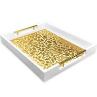 White Decorative Tray with Metal Handles and Gold Placemat - Coffee Table Tray