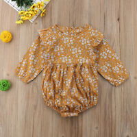 Canis Toddler Kid Baby Girls Long Sleeve Floral Romper Bodysuit Jumpsuit Outfits