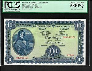 Ireland p-59d, AUNC, 10 Pounds, 1960, Lady Lavery, PCGS Graded 58 PPQ