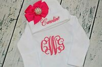 PERSONALIZED Baby Girl Gown and Hat with Hot Pink Bow /& Rhinestone Monogram