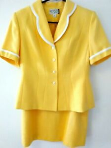 KASPER ASL Petite Women's Elegant Yellow Dress Suit Skirt 50's Style Size 8 (P)