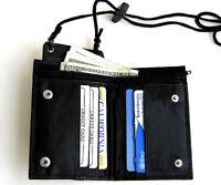 Black Genuine Leather Lanyard Bifold Wallet Neck Strap ID Holder