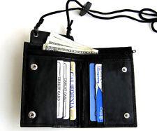 BLACK GENUINE LEATHER Neck Strap ID Holder Pocket Card Bifold Lanyard Wallet