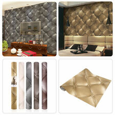 10M Textured Wallpaper 3D Leather Look Modern Wall Decor Paper Mural Roll LN