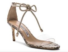 NIB Manolo Blahnik Estro Snakeskin Clear PVC Ankle Tie Sandals Pumps 36 6 $795