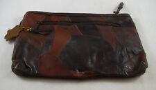 Capezio Med Brown Patchwork Leather Small Clutch Bag NEW Shoulder Strap Vintage