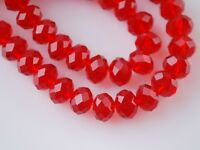 10pcs 14mm Rondelle Faceted Loose Crystal Glass Beads Jewelry Finding Red