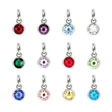 12pcs Lucky Rhinestone Birthstone charms Jewelry Pendant For DIY Necklace Chain