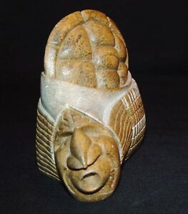 "Beautiful Vintage 1987 Iroquois Stone Carving Signed ""Sue Sky"""
