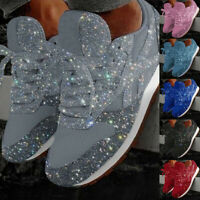Women's Fashion Casual Breathable Crystal Bling Lace Up Sport Shoes Sneakers