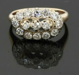 Antique 14K 2-tone gold 1.05CT diamond cluster cocktail ring size 4.75