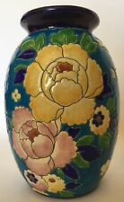 Rare Charles Catteau Boch Frères Keramis Vase- D1651 Dramatic Peonies on blue