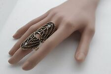Women Antique Gold Metal Ring Fashion Jewelry Long Finger Tip Nail One Size Band