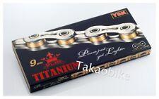 New YBN Super Lightweight Titanium 9 Speed Road MTB Bike Chain only 227g - Gold