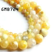 Yellow Fire Agate Natural Stone Beads Round Loose Spacer Bead For Jewelry Making