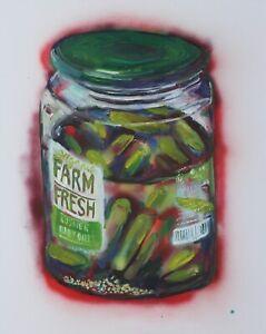 "Jar of Pickles Spray paint, acrylic, Oil on Canvas  John Kilduff 30"" x 24"""