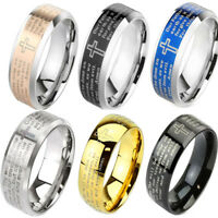 Lords Prayer Laser Etched IP or Beveled Edge Stainless Steel Classic Band Ring