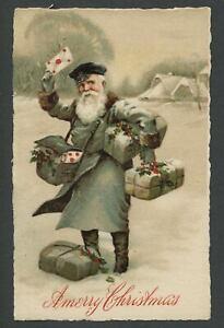 c.1910 SANTA CLAUS POSTMAN MAILMAN Germany SB Special Lithograph X-Mas Postcard3