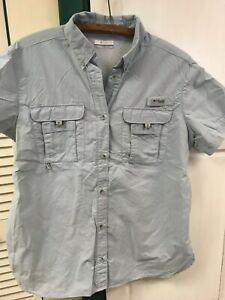 Columbia PFG women's fishing sport shirt short sleeve sz L,MINT, White shirt