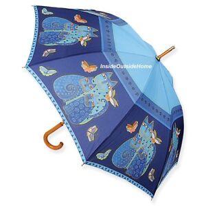 Laurel Burch Indigo Cats Blue STICK Umbrella Auto Open Close New RETIRED