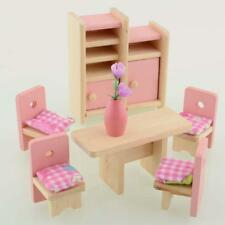 Wooden Dinning Dolls House Furniture Room Dollhouse Miniature For Kids Toys GA