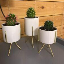 Modern Ceramic Succulent Flower Planter Pot + Iron Pot Shelf Stand Garden Decor