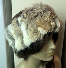natural brown beige real genuine rabbit fur pelt ear warmer headband unisex hat