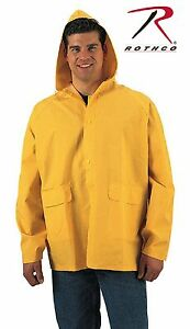 Rothco PVC Rain Jacket - Classic Yellow PVC Rain Coat with Drawstring Hood