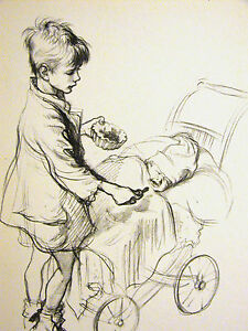 J.H. Dowd BOY FEEDING CRYING BABY JAM in Carriage 1938 Vintage Art Print Matted
