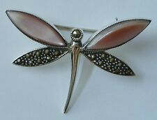 Sterling Pink Shell/Marcasite Dragonfly Brooch, Dragonfly Pink Shell Brooch/Pin