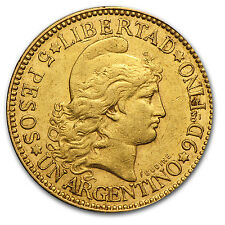 1882-1889 Argentina Gold 5 Pesos Un Argentino Avg Circ - SKU #23610