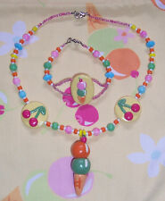OOAK M2M RAINBOW SHERBET Custom Boutique Set Clay Glass Beads Necklace Bracelet