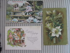 Vintage Easter Greetings Postcards Lot of 3 1915 Cross Lily Bunny Cart Chicks
